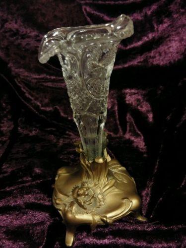 Antique Art Nouveau Vase with Fluted Glass Insert Vase Epergene