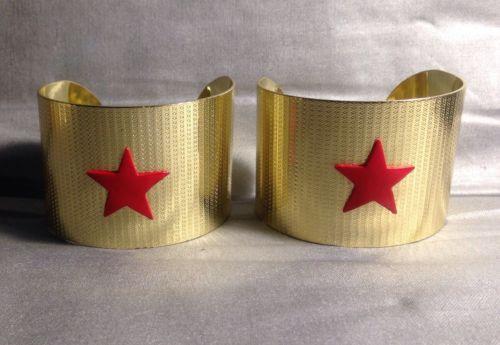 Gold Metal Wonder Woman Short Cuffs, Bracers, Red Stars, Artisan Made