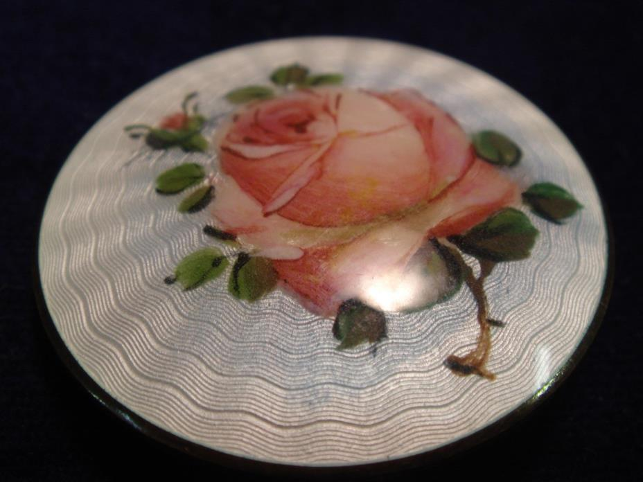 Norway Sterling Silver And Enamel Round Pin Painted Rose