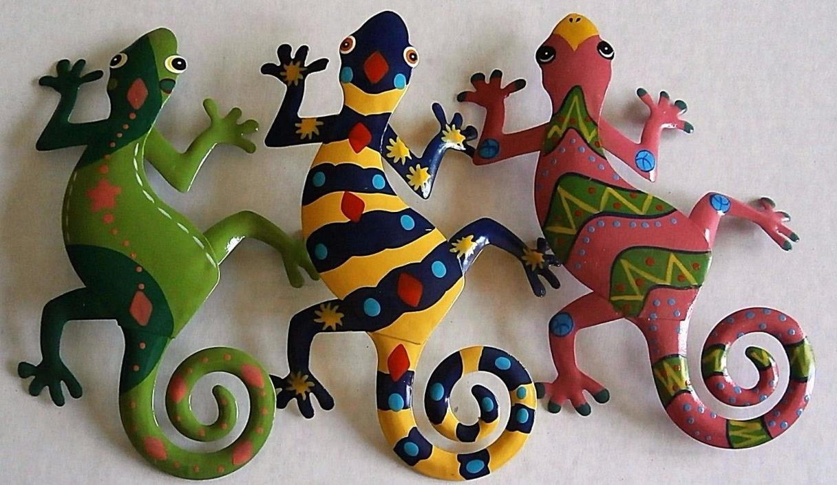 Metal Gecko Reptile Lizards  Decorative Wall/Garden Decor Assorted Colors