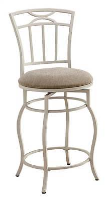 24 in. Metal Counter Stool w Upholstered Seat in White [ID 128874]