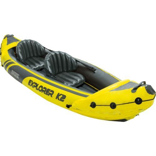 Inflatable Kayak Canoe Paddle 2 Person Boat Water Pump Floating Yellow Grab Line