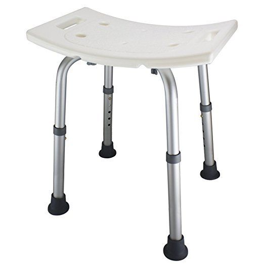 Ez2care Adjustable Bath Shower Bench Seat Safety Aluminum Legs Chair Stool Light