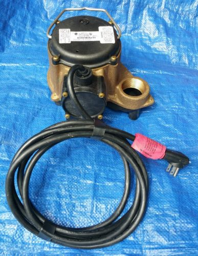 LITTLE GIANT 8-CBA Sump Pump, 4/10 HP, 1-1/2In, 23ft Max, BRZ