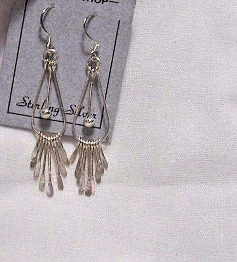 PADDLE DANGLES OFF TEARDROP FRAME STERLING SILVER EARRINGS 1 3/4