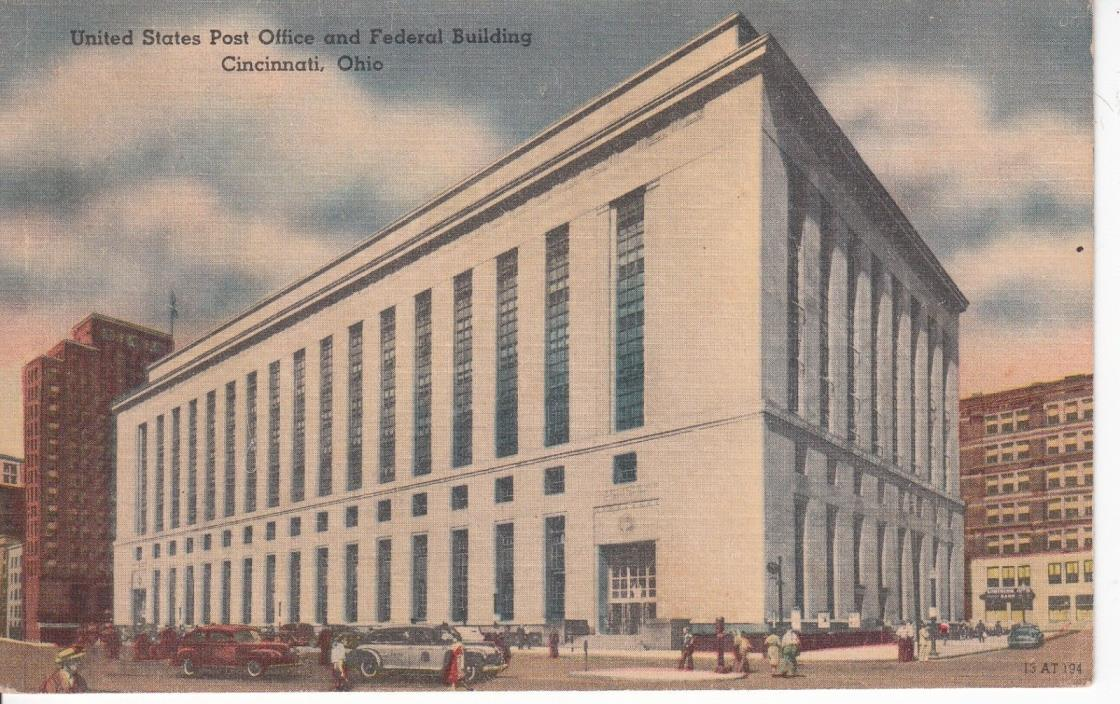 UNITED STATES POST OFFICE AND FEDERAL BUILDING CINCINNATI OHIO LINEN POSTCARD
