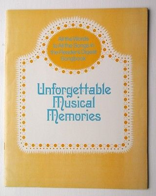 Reader's Digest Unforgettable Musical Memories Lyrics Book Supplement