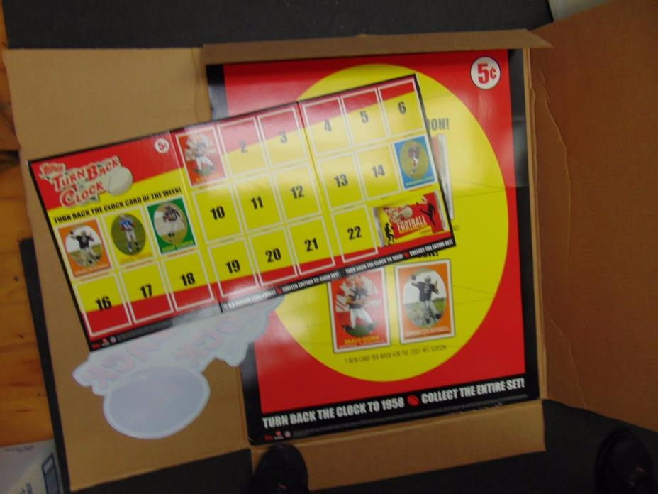 NEW 2007 Topps Football Turn Back The Clock Promotion Stand-Up Display & STICKER