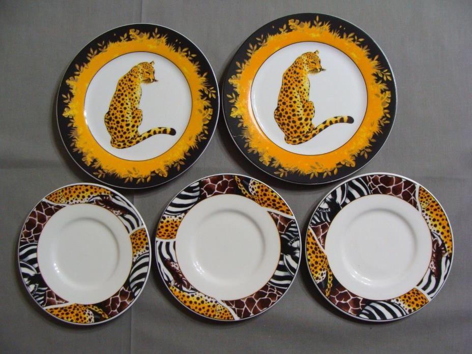 2 FC Porcelain Dessert Plates & 3 Saucers In Animal Safari Pattern