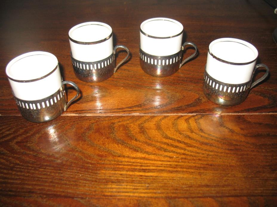 SET OF 4 EBERLE SILVERPLATED EXPRESSO CUP HOLDERS W/ VERACRUZ INSERTS, BRAZEL