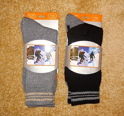 NEW 2-pr MEN'S THERMAL SOCKS cushioned support shoe size 10-13 FREE SHIPPING