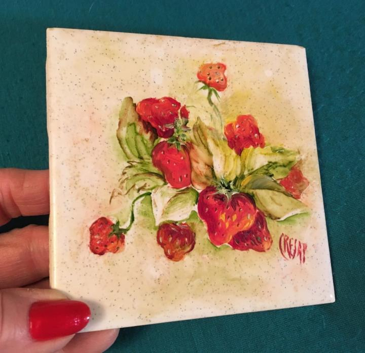HAND PAINTED CERAMIC TILE STRAWBERRIES OIL PAINTED KITCHEN DECOR