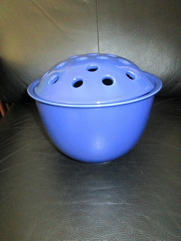 Large Flower Vase Frog Pot Floral Arrangement Ceramic Blue Holes Hampton Direct