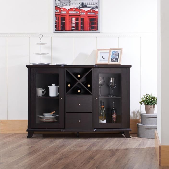 Glass Doors Wood Wine Rack Storage Dining Room Buffet Cabinet -CAPPUCCINO FINISH