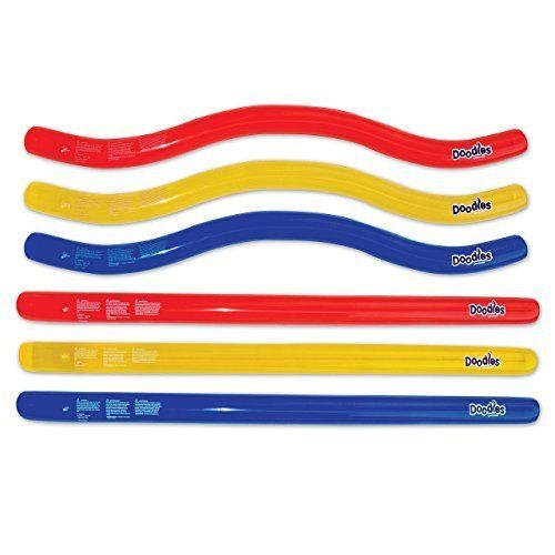 Inflatable Pool Noodle Float Doodles Outdoor Water Swimming Fun Shape 6 Count