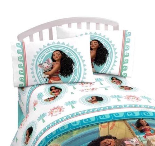 Disney Moana The Wave 3 Piece Twin Sheet Set Hawaiian Fitted Flat Pillowcase