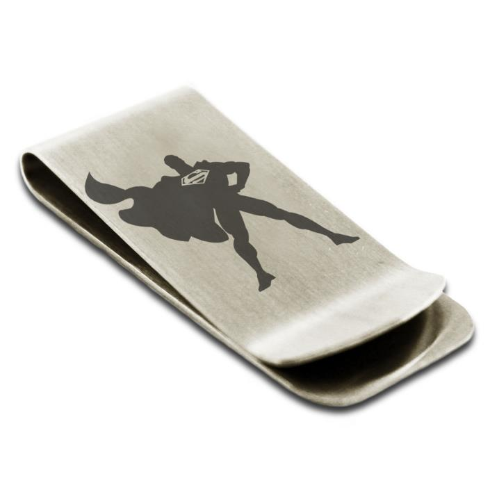 Stainless Steel Man of Steel Superman Symbol Money Clip Credit Card Holder