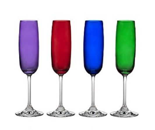 MARQUIS BY WATERFORD VINTAGE JEWELS 4 CHAMPAGNE FLUTES PURPLE RED BLUE GREEN