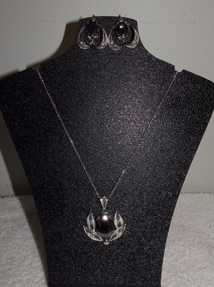 VINTAGE SORRENTO STERLING HEMATITE PENDANT NECKLACE & CLIP EARRINGS