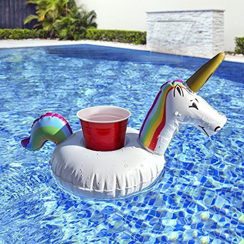 Inflatable Drink Float Unicorn Outdoor Swimming Cup Beverage Tub Raft Fun 3 Pack