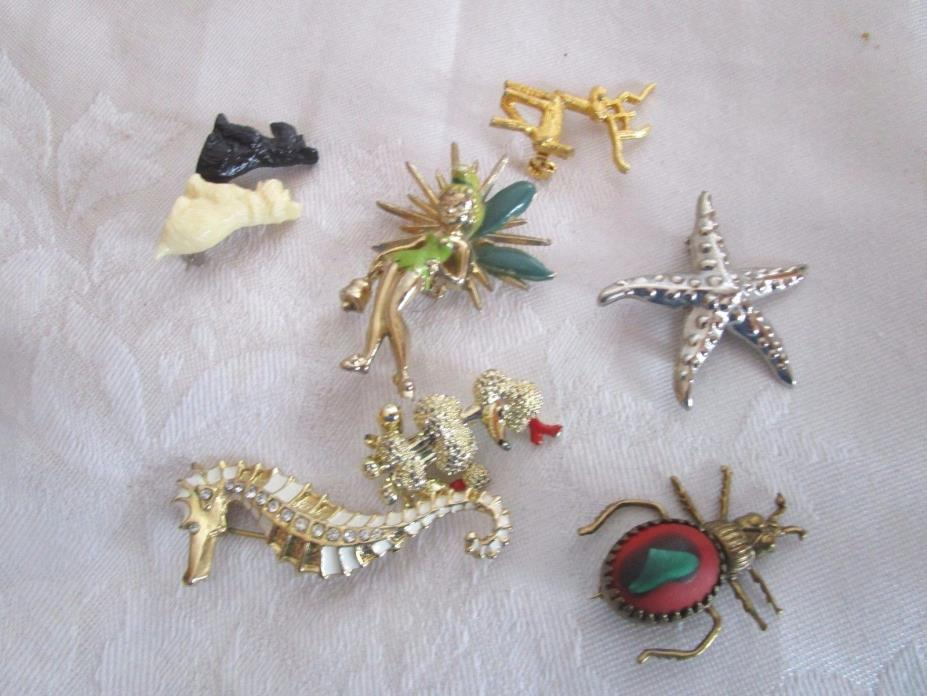 Lot of 7 costume jewelry brooches brooch seahorse star fish dogs tinker bell BAR