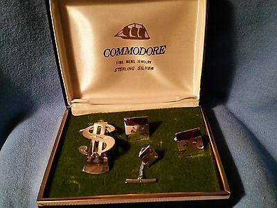 SALE     Vintage Men's Sterling Silver Gift set Money Clip, Tie Tack, Cuff links