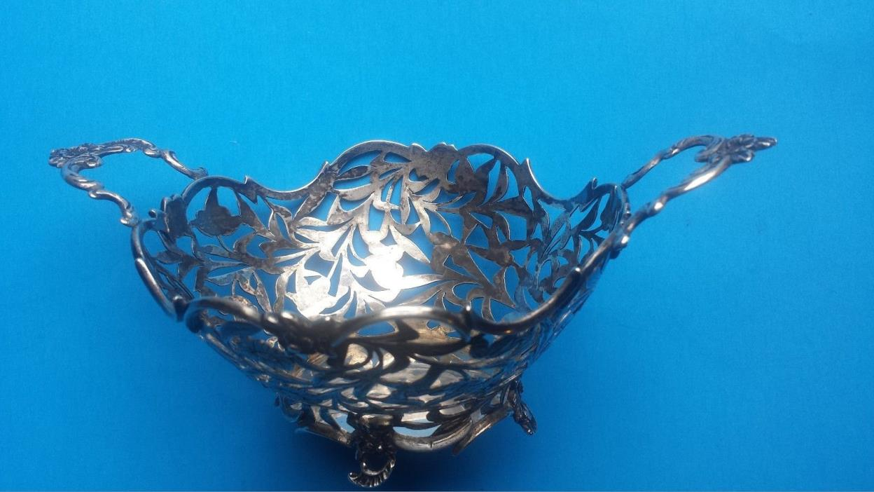 vintage-DUTCH COIN SILVER BON BON BOWL-3.7 oz-PIERCED & CHASED-NICE!-TOUCHMARKED