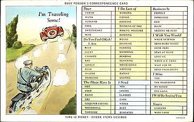 Busy Person's Correspondence ~ motorcycle cop police antique car 1920s