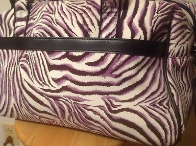 Two Lumps Of Sugar Wheeled Weekender Travel Tote, Animal Print Purple & Black