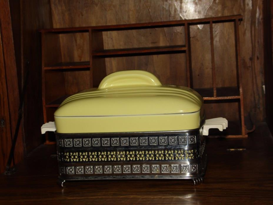 VTG YELLOW HALL Covered CASSEROLE DISH By WESTINGHOUSE WITH METAL HOLDER