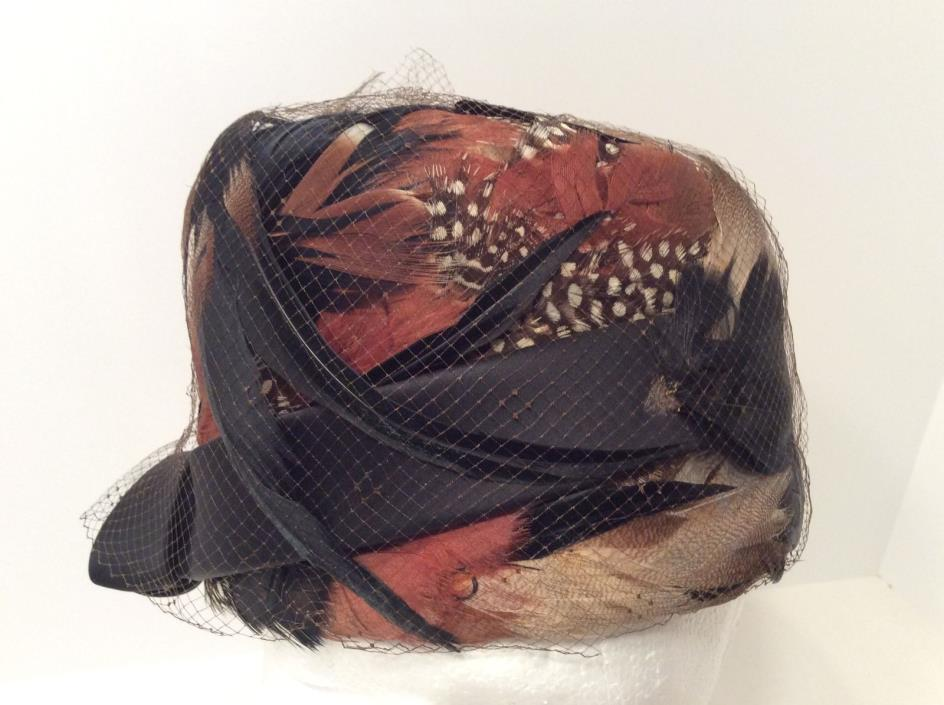 Woman's Hat -Derby,Church,Vintage Lazarus Feather Pill Box Hat wNetting