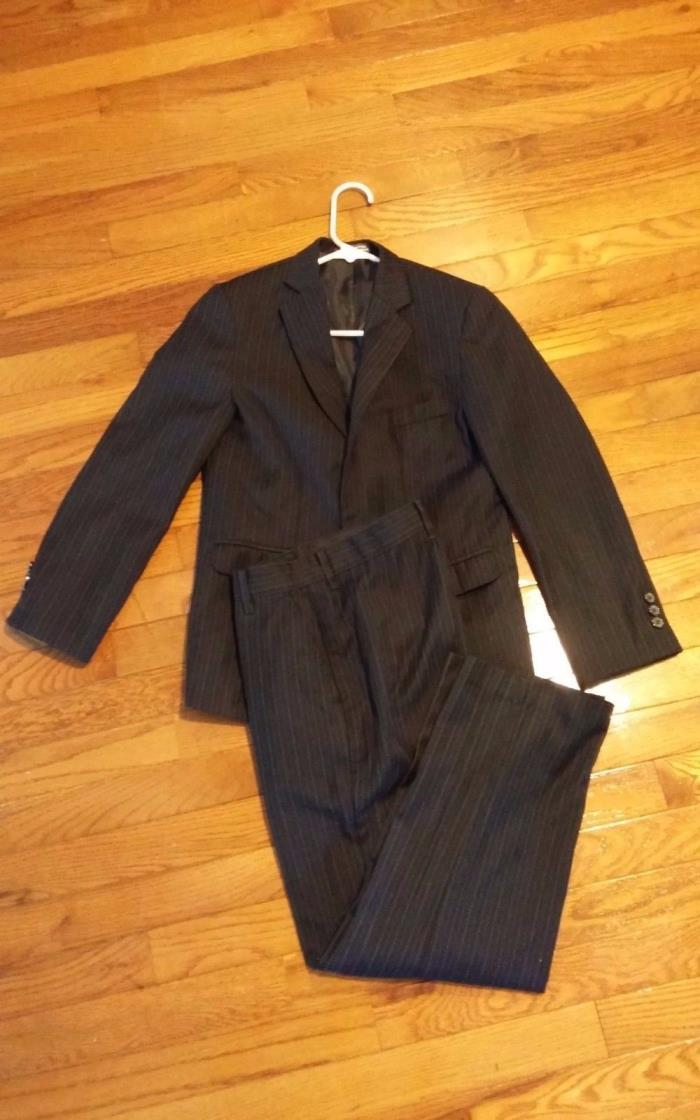 Boys suit size 12 black 3 button perry ellis jacket  black pants matching 2673