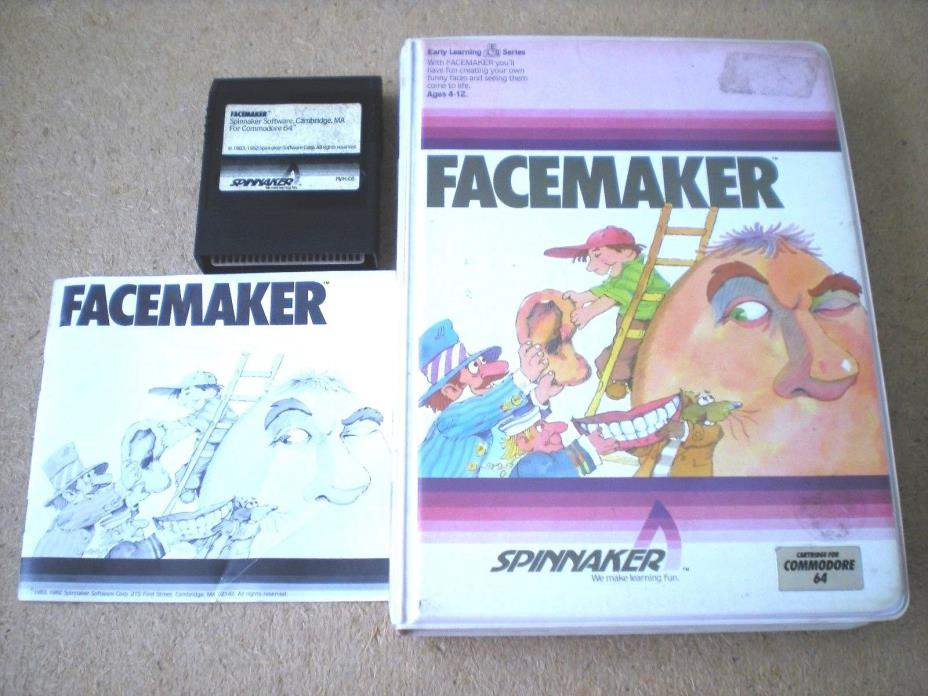 FACEMAKER CHILDREN'S COMPUTER GAME & MANUAL COMMODORE 64 CARTRIDGE SPINNAKER