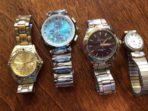 4 watches for parts or repair, relic,amitron,stainless steel, may just need batt