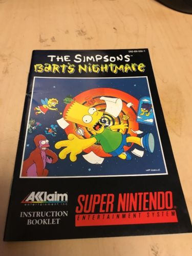 The Simpsons Bart's Nightmare Super Nintendo SNES Instruction Manual Booklet