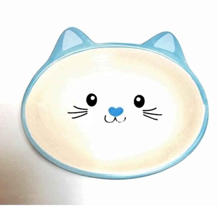 New Blue SIMPLY Ceramic Cat Face Feeding Dish/Bowl With Whiskers