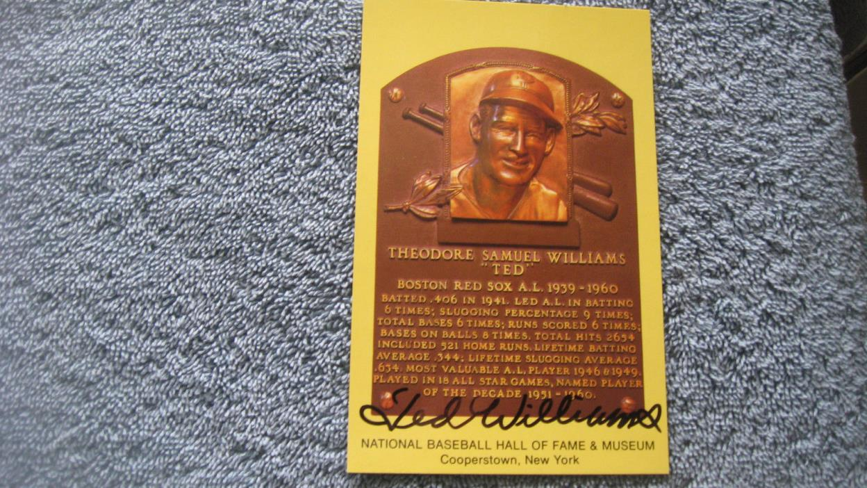 Ted Williams autographed HOF plaque postcard