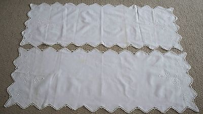 ANTIQUE - 2  WHITE  TABLE OR CHEST MATCHING  RUNNERS - 42