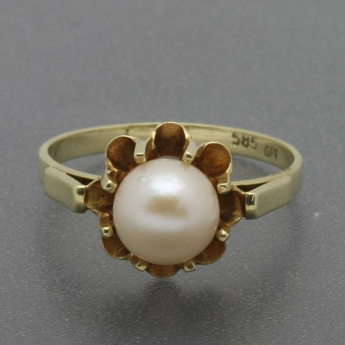 Antique Solid 14K Yellow Gold 7mm Pearl Solitaire Ring Buttercup Setting Size 6