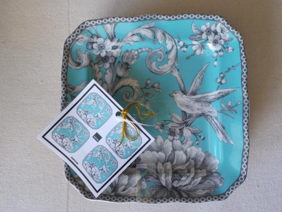 222 FIFTH ADELAIDE TURQUOISE & BLACK BIRD TOILE SET OF 4 APPETIZER PLATES