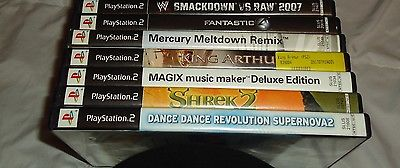 LOT OF (8) VARIOUS USED PLAYSTATION 2 GAMES MICROPHONE KING ARTHUR MAGIX MUSIC