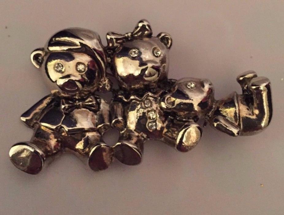 PEWTER TEDDY BEARS  Rhinestone EYES Brooch Pin