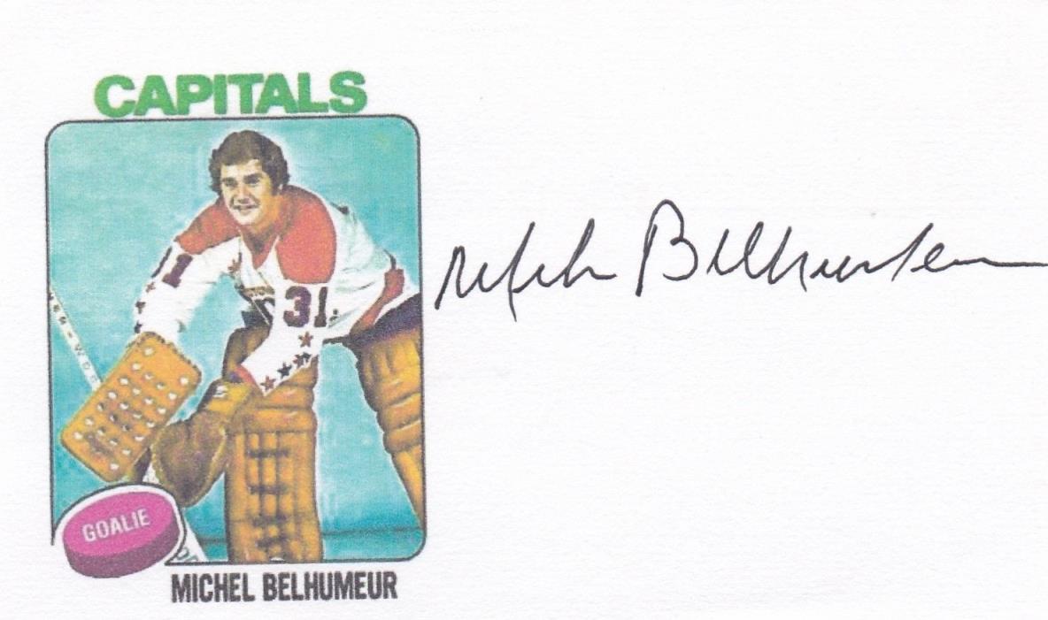 Michel Belhumeur,Washington Capitals signed index card