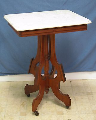 Victorian Marble Parlor Table - Walnut - Original Brass Wheels - Excellent Cond
