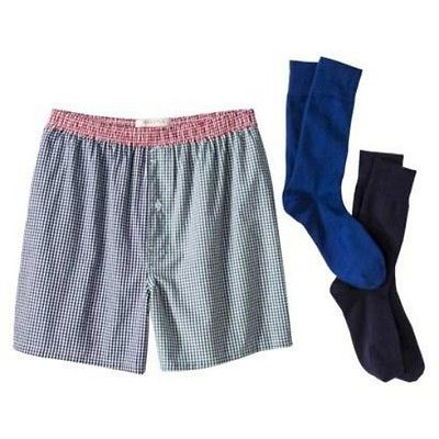 New Men's Boxers and Crew Socks 3 Piece Set - Plaid Size: S
