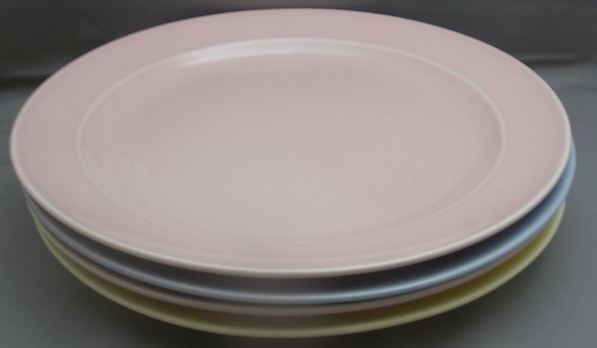 LU RAY Vintage Pastel Dinner Plates Set of Four Pink Yellow Blue  9 Inch
