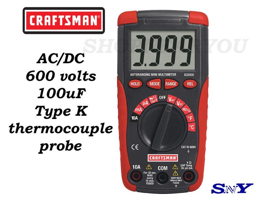 CM CRAFTSMAN MULTIMETER AC/DC 600 volt 400mA