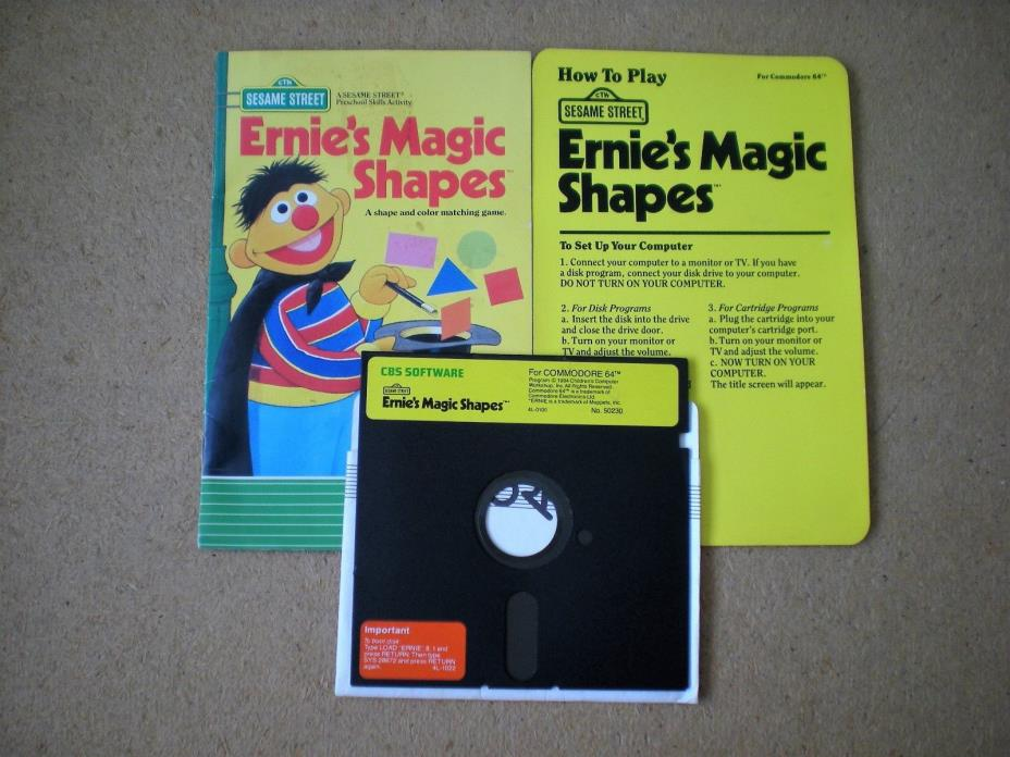 ERNIE'S MAGIC SHAPES CHILDRENS GAME COMMODORE 64 FLOPPY DISK MANUAL INSTRUCTION