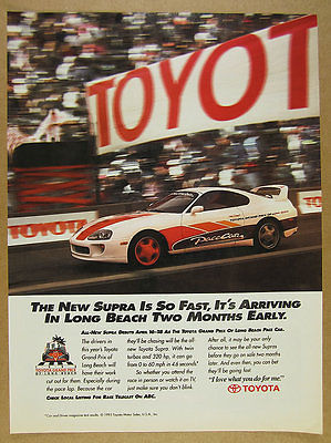 1993 Toyota SUPRA TURBO Grand Prix of Long Beach Pace Car photo vintage print Ad