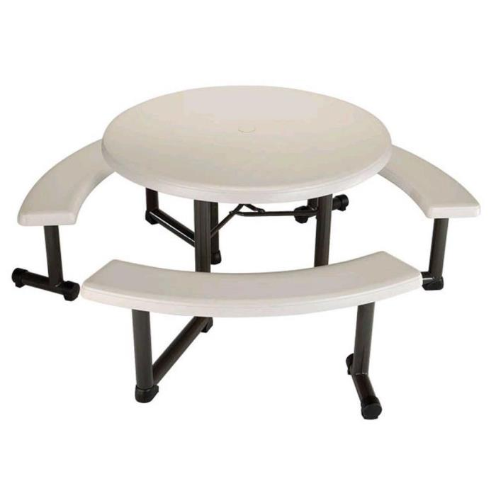 Round Picnic Table with 3 Benches 44 in.